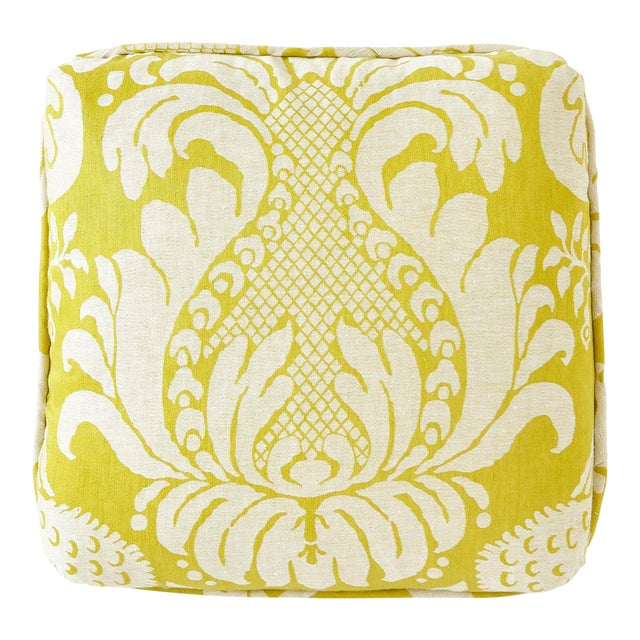 Schumacher Anna Damask Acid Green Square Pillow 18x18- Pair For Sale