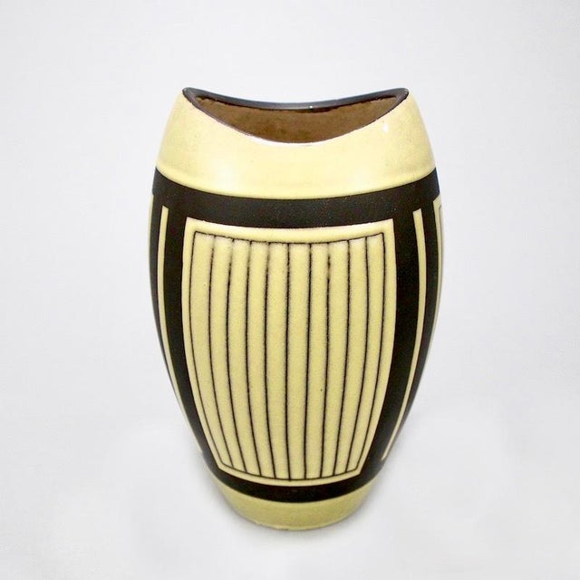 Mid-Century Modern Mid-Century European Yellow & Brown Ceramic Vase For Sale - Image 3 of 7