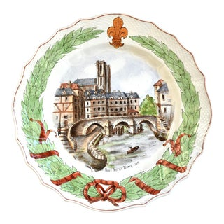19th Century Antique French Notre Dame Faience Plate For Sale