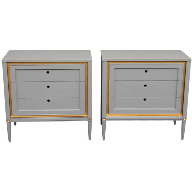 1960s Slate Blue & Gilt Accent Bachelor's Chests - A Pair For Sale