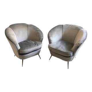 1950s Italian Mid-Century Modern Brass and Velvet Armchairs - Set of Two For Sale