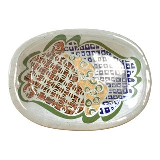 Mid-Century Modern Stoneware Serving Platter Dish With Abstract Geometric Design For Sale