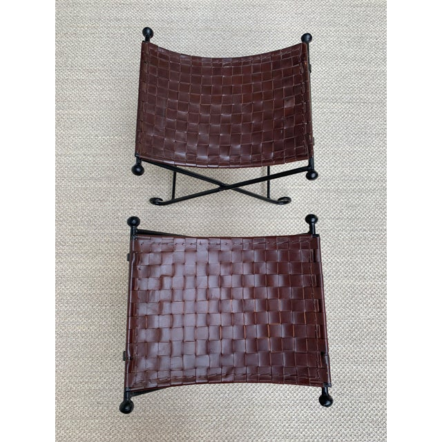 Mid-Century Modern Vintage Woven Leather and Iron Footstools - a Pair For Sale - Image 3 of 10