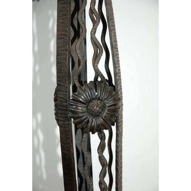 Black French Art Deco Wrought Iron Tripod Base Floor Lamp For Sale - Image 8 of 12