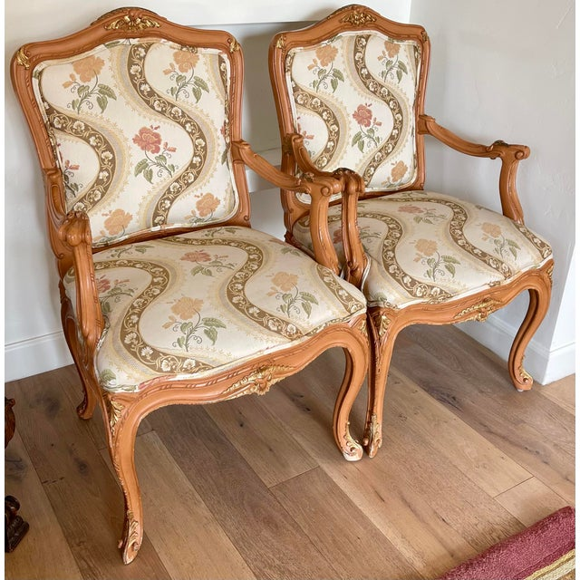 Sienna Lewis Mittman French Louis XV Style Arm Chairs - a Pair For Sale - Image 8 of 8