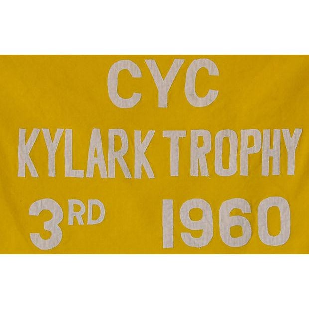 Vintage maritime nautical yacht sailing regatta trophy flag from the Cleveland Yachting Club. The club was founded in 1878...