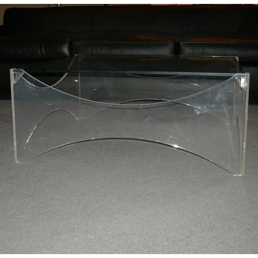 Lucite and Glass Coffee Table - Image 4 of 5