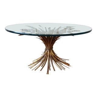 Hollywood Regency Italian Gold Sheaf of Wheat Cocktail Table For Sale