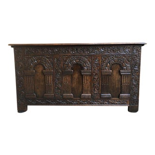 Antique English Carved Oak Chest For Sale