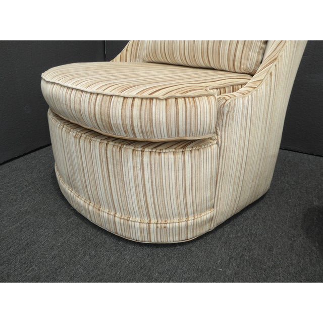 Vintage Mid-Century Modern Milo Baughman Style Tan Stripped Velvet Swivel Chairs - a Pair For Sale - Image 10 of 13