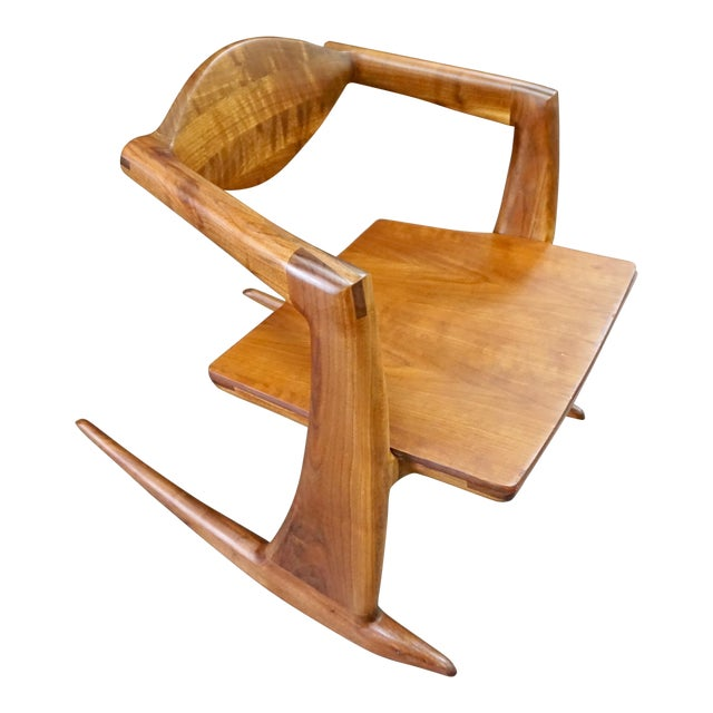 Hand Crafted Walnut Rocking Chair For Sale