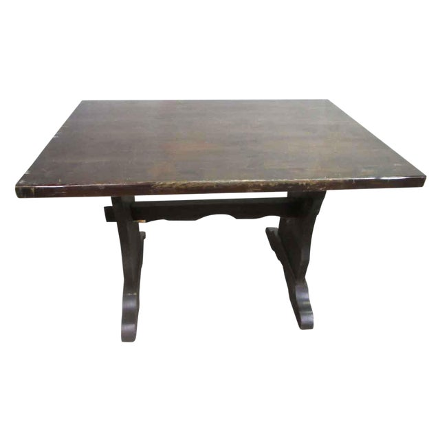 Dark Wood Trestle Table For Sale