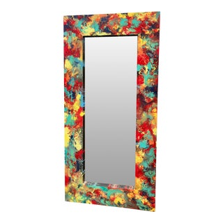 "Abstract Freeform Painted Custom Full Length Mirror - 37""X 75"" For Sale"