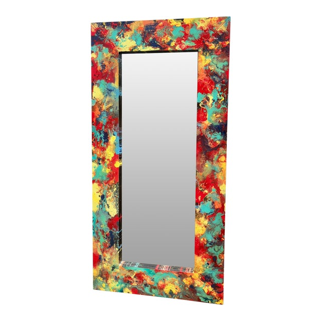 """Abstract Freeform Painted Custom Full Length Mirror - 37""""X 75"""" For Sale"""