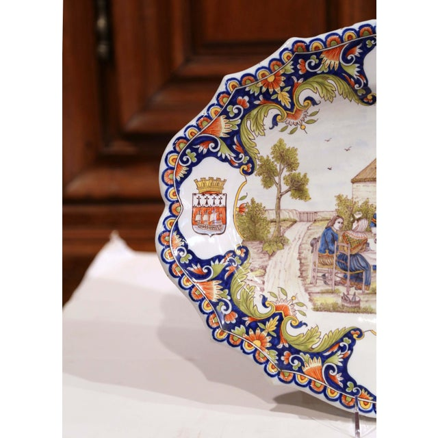 Late 19th Century Large 19th Century French Hand-Painted Oval Faience Wall Platter From Brittany For Sale - Image 5 of 12