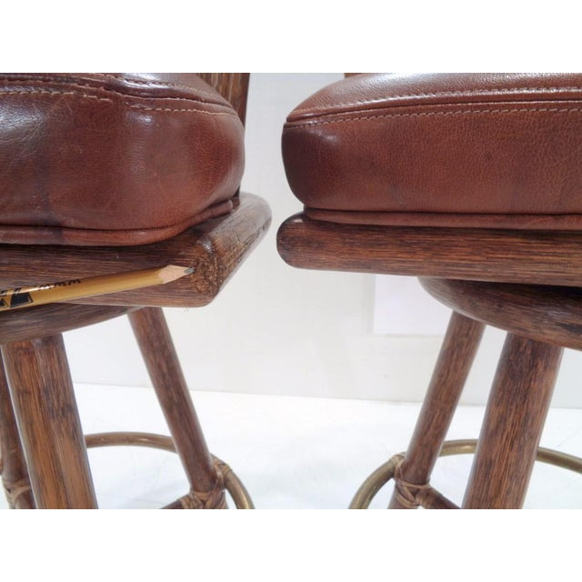 Vintage McGuire Organic Modern Bamboo & Leather Swivel Barstools ~ a Pair For Sale - Image 9 of 13