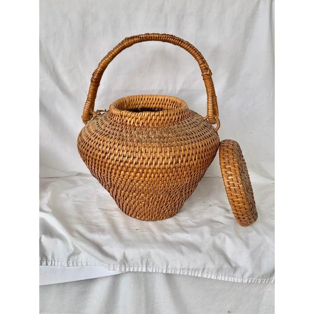 Wood Vintage Large Lidded Basket For Sale - Image 7 of 13