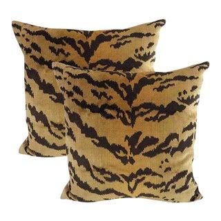 Bespoke Silk Velvet Tiger Down Feather Accent Pillows - Set of 2