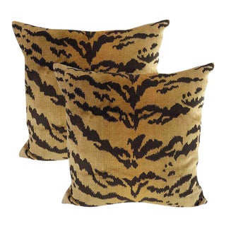 Bespoke Silk Velvet Tiger Down Feather Accent Pillows - Set of 2 ~ Down Feather Inserts Included.