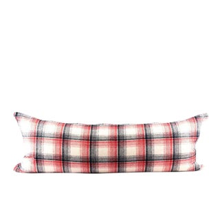 """Vintage Plaid American Wool Pillow 13"""" x 34"""" For Sale"""