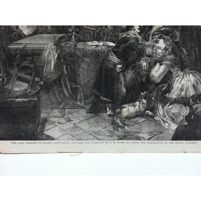 """English Mid 19th Century Antique """"The Last Parting of Marie Antoinette and Her Son"""" The Illustrated London News Print For Sale - Image 3 of 5"""