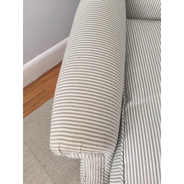 Custom Striped Wing Chair - Image 3 of 9