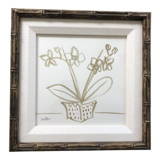 Framed Classic Orchid 2 by Meg Britten Painting For Sale
