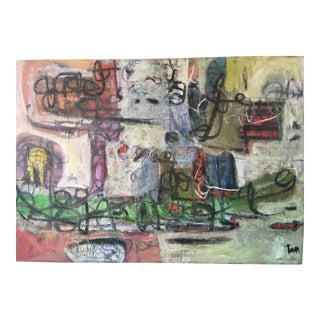 Extra Large Oil on Canvas Abstract Painting For Sale