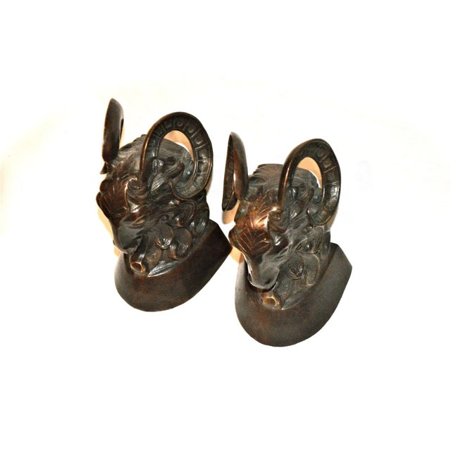 Vintage Bronze Ram Bookends - A Pair - Image 4 of 11
