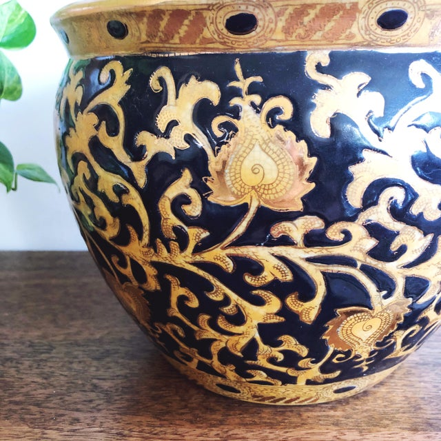 Japanese Vintage Satsuma Ceramic Planter With Painted Koi Fish For Sale - Image 3 of 7