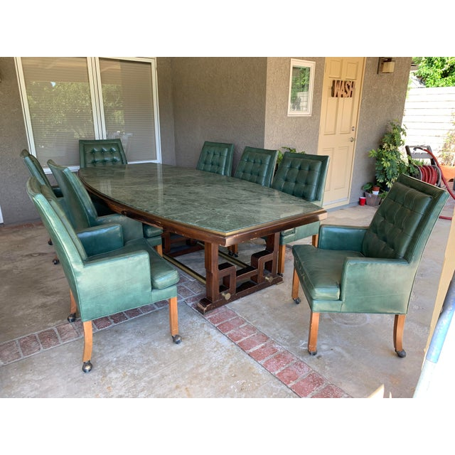 1968 Mid-Century See Mar Jadeite Table With Leather Chairs For Sale - Image 10 of 10