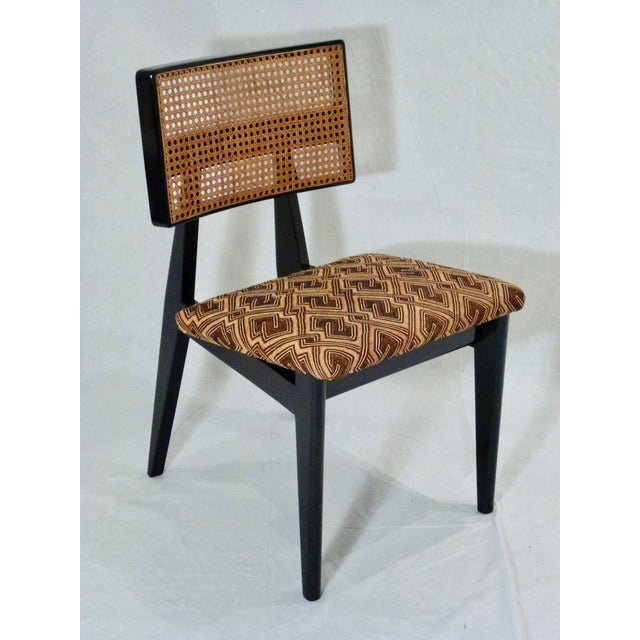 African George Nelson for Herman Miller Cane Back Side Chair With Kuba Cloth Seat For Sale - Image 3 of 11