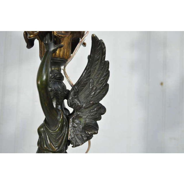 Metal 19th Century French Gilt Bronze & Marble Neoclassical Style Figural Maiden Table Lamp For Sale - Image 7 of 11
