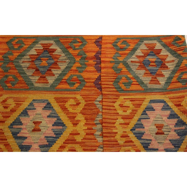 Edie Rust/Ivory Hand-Woven Kilim Wool Rug -4'2 X 5'9 For Sale In New York - Image 6 of 8