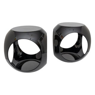 Op Art Resin Black Drinks Tables - a Pair For Sale