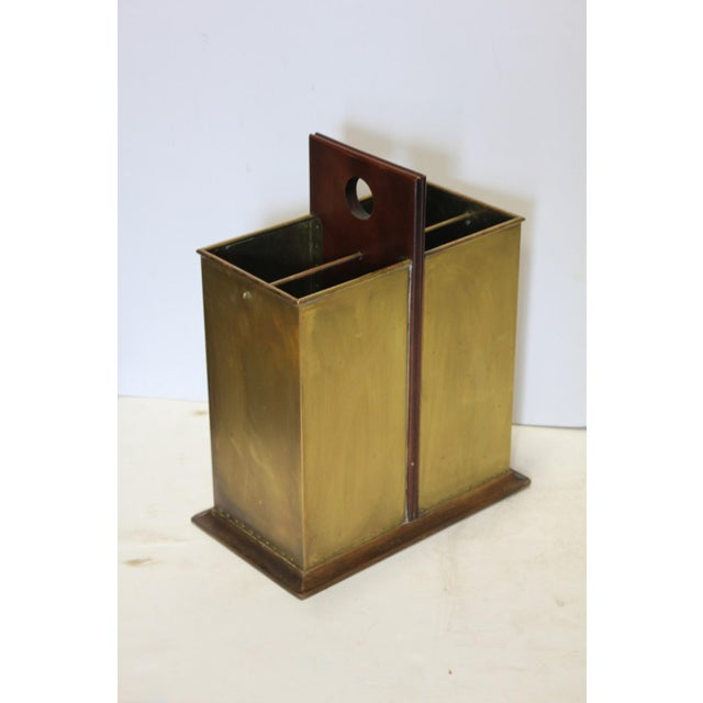Antique English Brass & Wood Umbrella Stand - Image 2 of 4