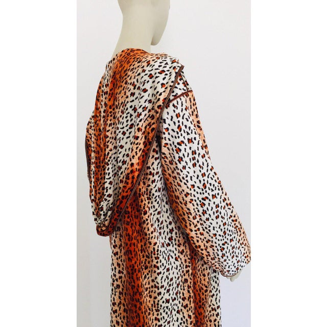 Black 1970s Moroccan Hooded Caftan Animal Print Djellabah Kaftan For Sale - Image 8 of 12