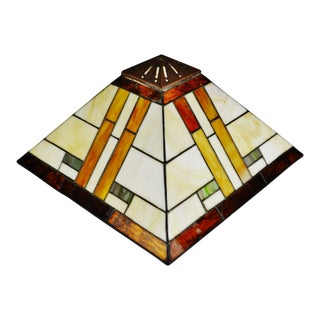 Vintage Mission Arts & Crafts Tiffany Style Glass Lamp Shade For Sale