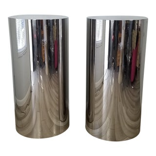 Paul Mayen Style Tall Postmodern Stainless Steel Pedestals - a Pair For Sale