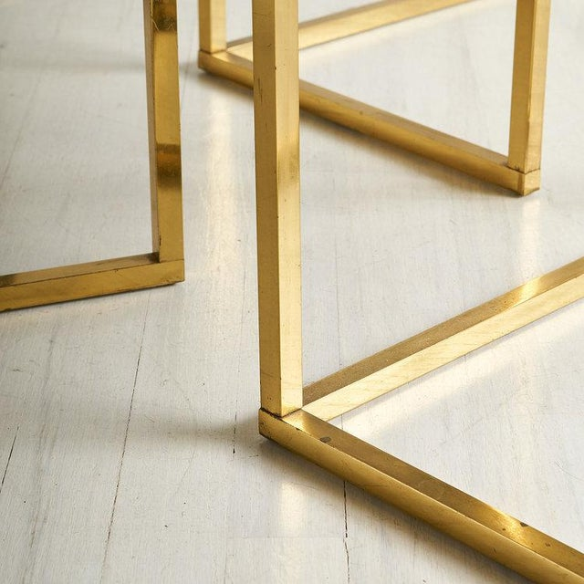 Brass and Rose Gold Italian Mirrored Glass Nesting Tables For Sale - Image 4 of 8