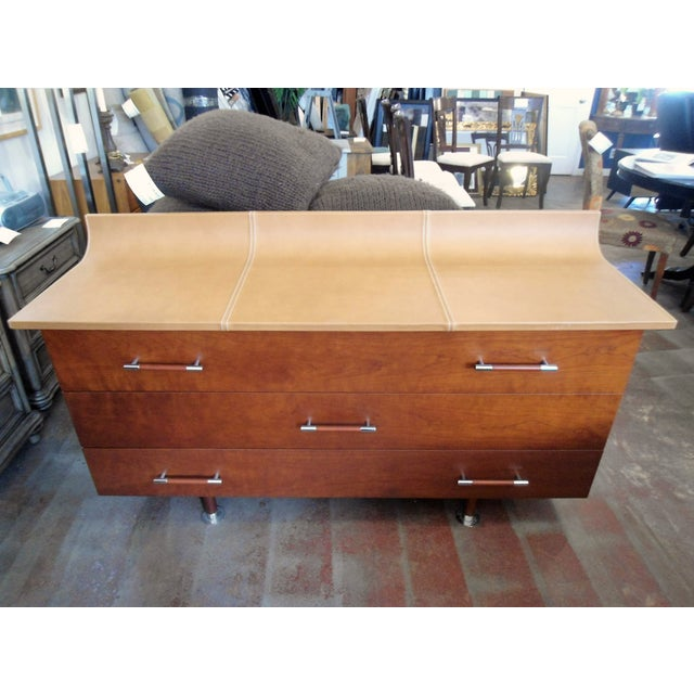 Giorgetti High Curved Leather Top Dresser - Image 2 of 5