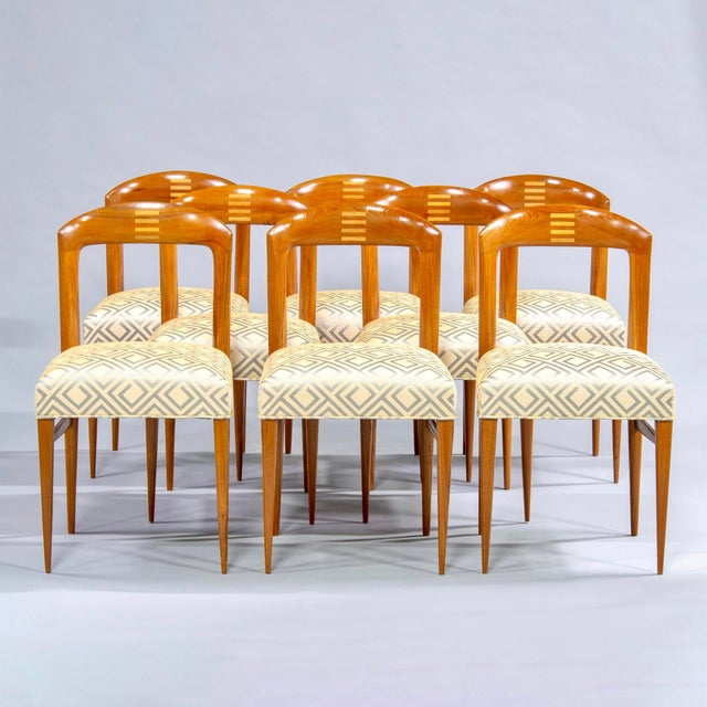 Set of Eight Art Deco Beech Chairs With New Upholstery For Sale - Image 12 of 12