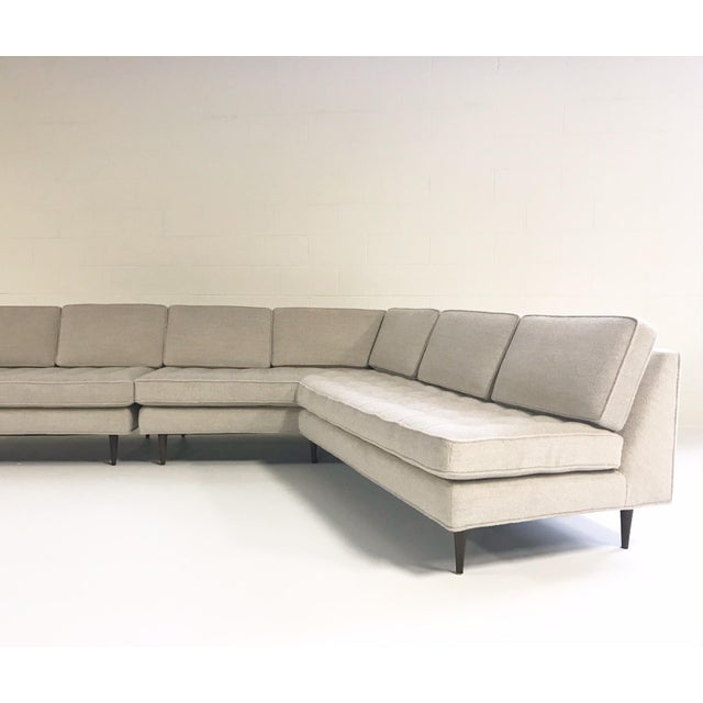 Modern Vintage Mid-Century 2-Piece Sectional Sofa Restored in Gray Loro Piana Alpaca Wool For Sale - Image 3 of 13