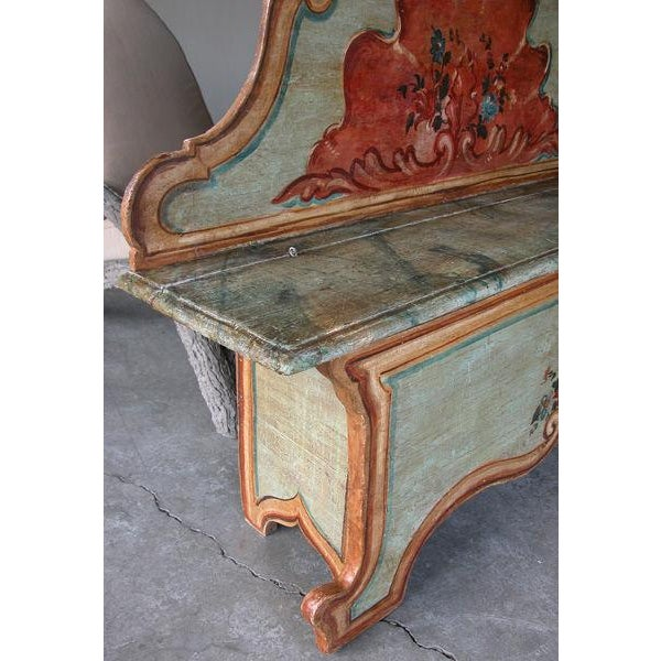 Pine A Fanciful Venetian Baroque Style Pine Polychromed Highback Bench For Sale - Image 7 of 10
