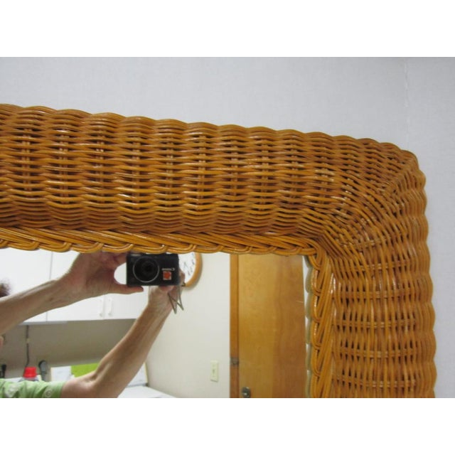 Vintage Lacquer Wicker Rattan Wall Mirror - Image 11 of 11