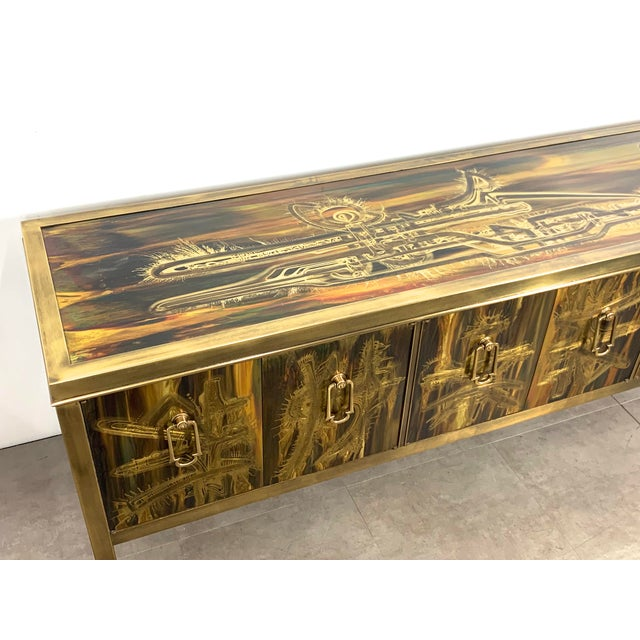 Metal Bernhard Rohne Acid Etched Brass Credenza for Mastercraft 1970's For Sale - Image 7 of 13