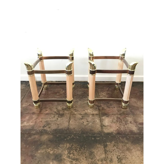 Metal 1980s Hollywood Regency Side Table Bases With Tusk Details - a Pair For Sale - Image 7 of 7