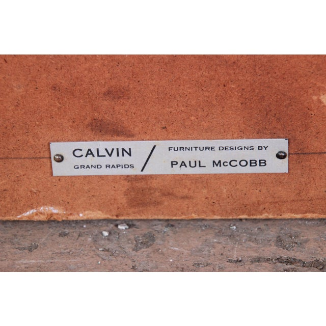 Metal Paul McCobb for Calvin Furniture Brass and Naugahyde Twin Size Headboard For Sale - Image 7 of 8