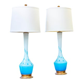 1950s 1950s Murano Lamps by Seguso for Marbro With Shades - a Pair For Sale