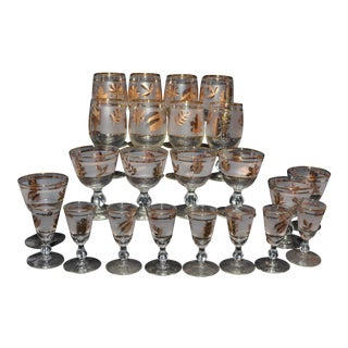 Libbey Gold Leaf Glassware - Set of 23